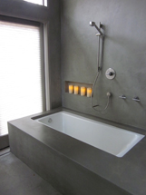 Concrete bathtub surround