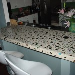 broken liquor bottle concrete countertop austin