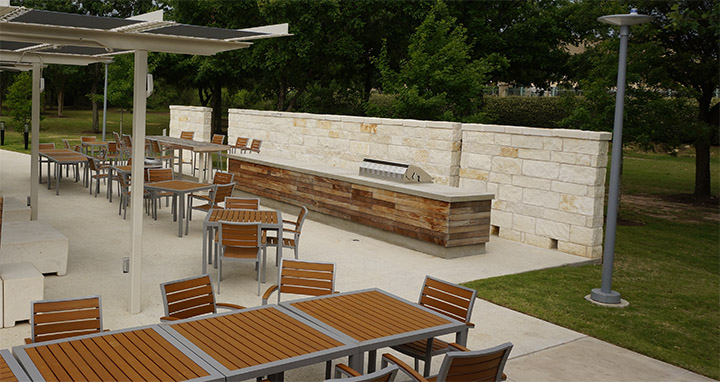 austin concrete countertop outdoor kitchen