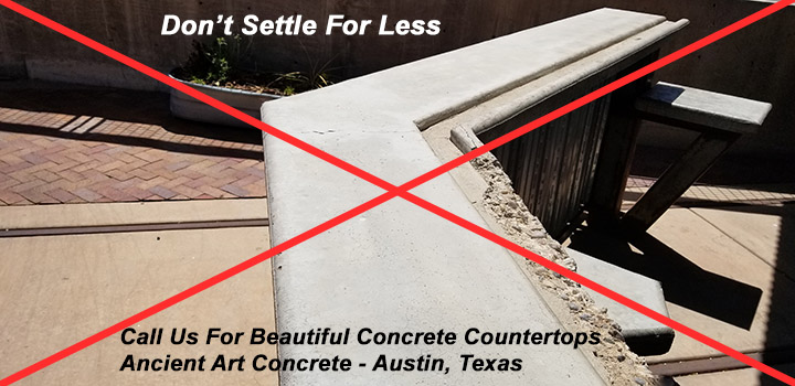 concrete countertop broken not ours austin